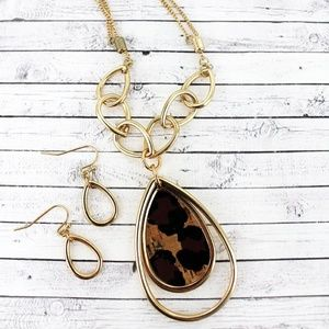GOLDTONE AND LEOPARD CORK ORBITAL TEARDROP SET